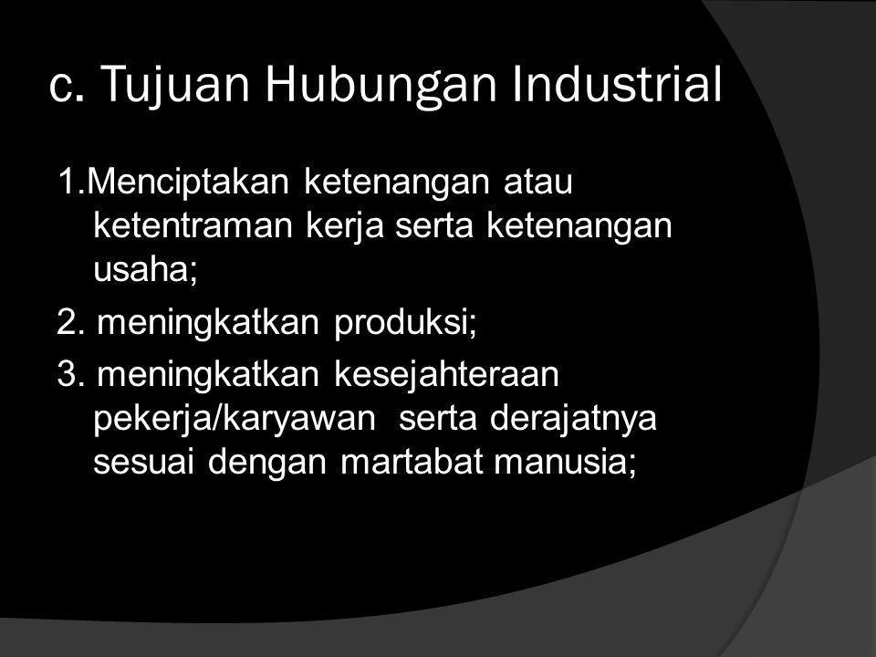 b. Ruang Lingkup Hubungan Industrial  Mencakup seluruh tempat kerja dimana pekerja dan pengusaha bekerjasama dalam hubungan kerja untuk mencapai tuju