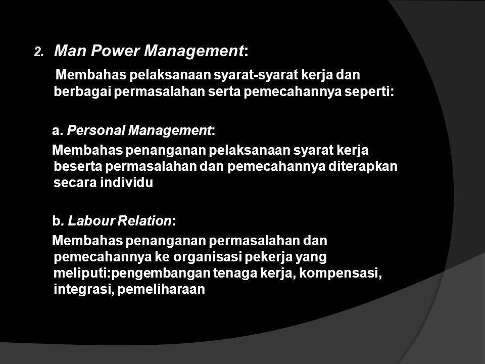 Hubungan Industrial meliputi 1. Man Power Marketing : Membahas penentuan syarat-syarat kerja yang akan diterapkan dalam pelaksanaan ikatan kerja dalam