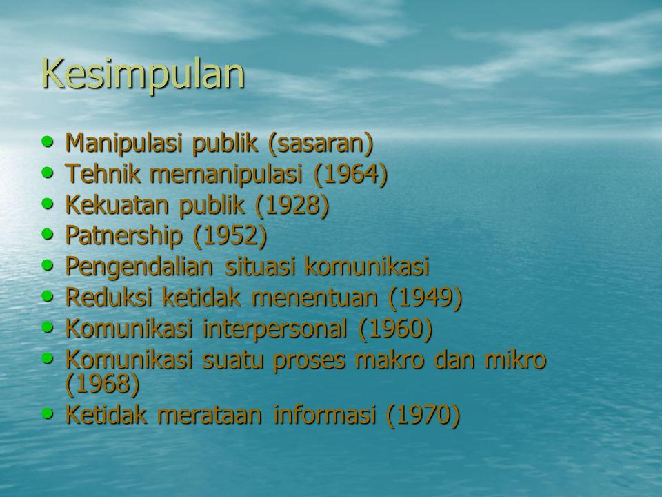 Kesimpulan • Manipulasi publik (sasaran) • Tehnik memanipulasi (1964) • Kekuatan publik (1928) • Patnership (1952) • Pengendalian situasi komunikasi •