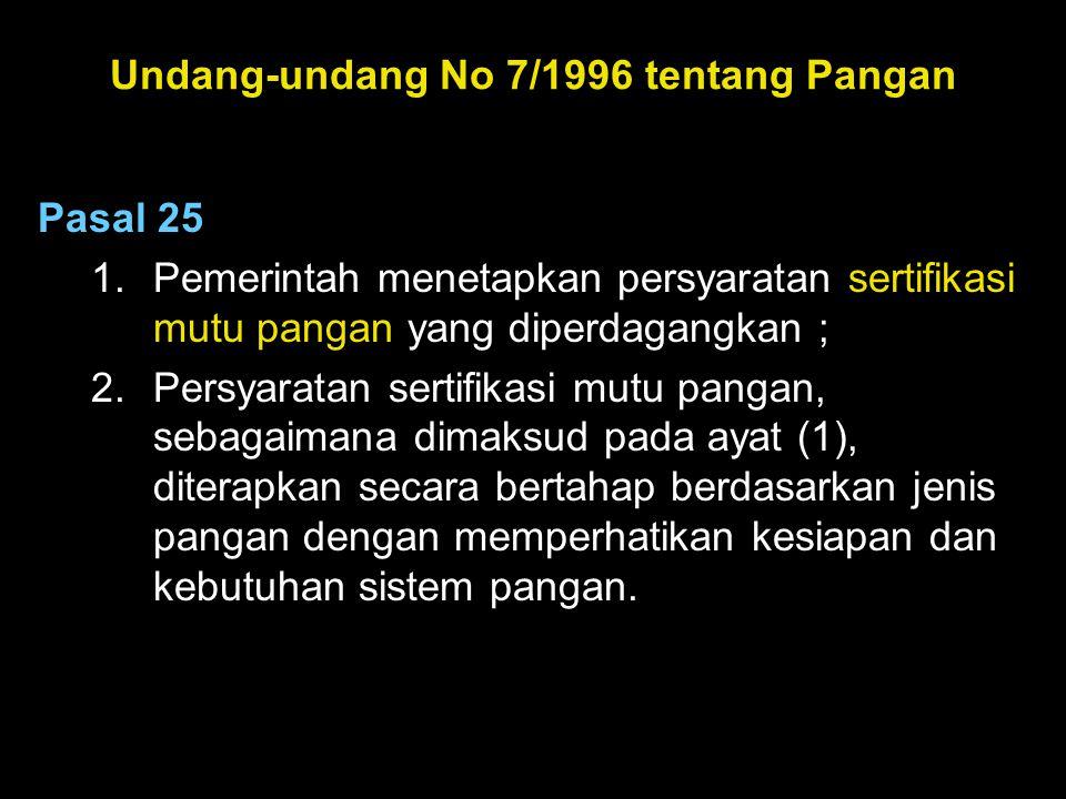 Undang-undang No 7/1996 tentang Pangan Pasal 25 1.Pemerintah menetapkan persyaratan sertifikasi mutu pangan yang diperdagangkan ; 2.Persyaratan sertif