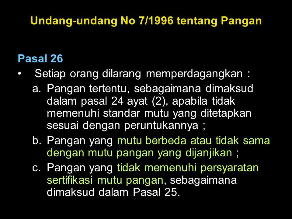 Undang-undang No 7/1996 tentang Pangan Pasal 26 •Setiap orang dilarang memperdagangkan : a.Pangan tertentu, sebagaimana dimaksud dalam pasal 24 ayat (