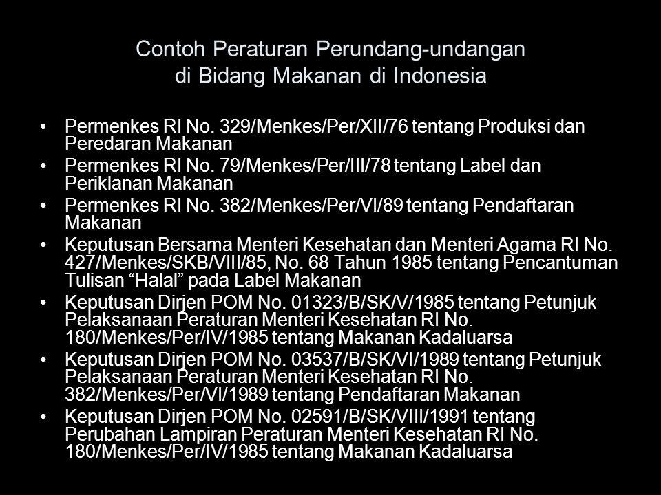Contoh Peraturan Perundang-undangan di Bidang Makanan di Indonesia •Permenkes RI No. 329/Menkes/Per/XII/76 tentang Produksi dan Peredaran Makanan •Per