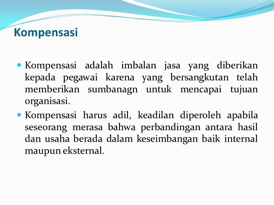 Kompensasi  Kompensasi adalah imbalan jasa yang diberikan kepada pegawai karena yang bersangkutan telah memberikan sumbanagn untuk mencapai tujuan or