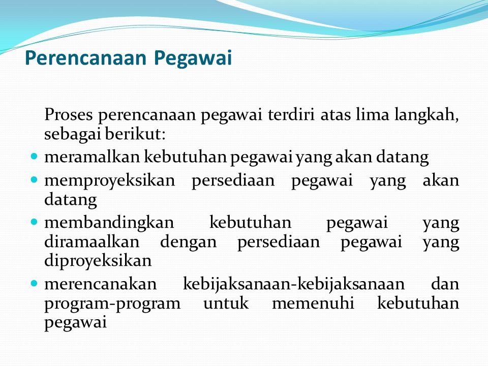 Perencanaan Pegawai Proses perencanaan pegawai terdiri atas lima langkah, sebagai berikut:  meramalkan kebutuhan pegawai yang akan datang  memproyek