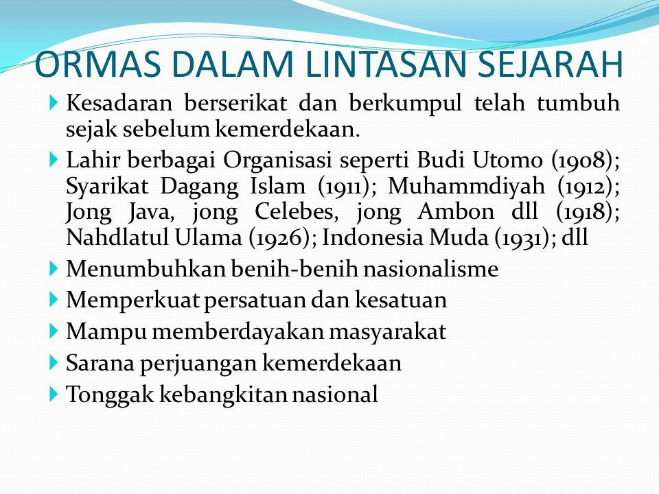 PENGATURAN ORMAS DALAM HUKUM POSITIF  Diatur dalam UU Nomor 8 Tahun 1985 tentang Organisasi Kemasyarakatan; dan PP Nomor 18 Tahun 1985 tentang Pelaksanaan Undang-Undang Nomor 5 Tahun 1985 tentang Keormasan.