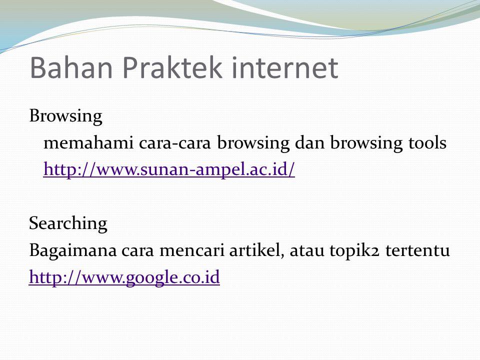 Bahan Praktek internet Browsing memahami cara-cara browsing dan browsing tools http://www.sunan-ampel.ac.id/ Searching Bagaimana cara mencari artikel, atau topik2 tertentu http://www.google.co.id