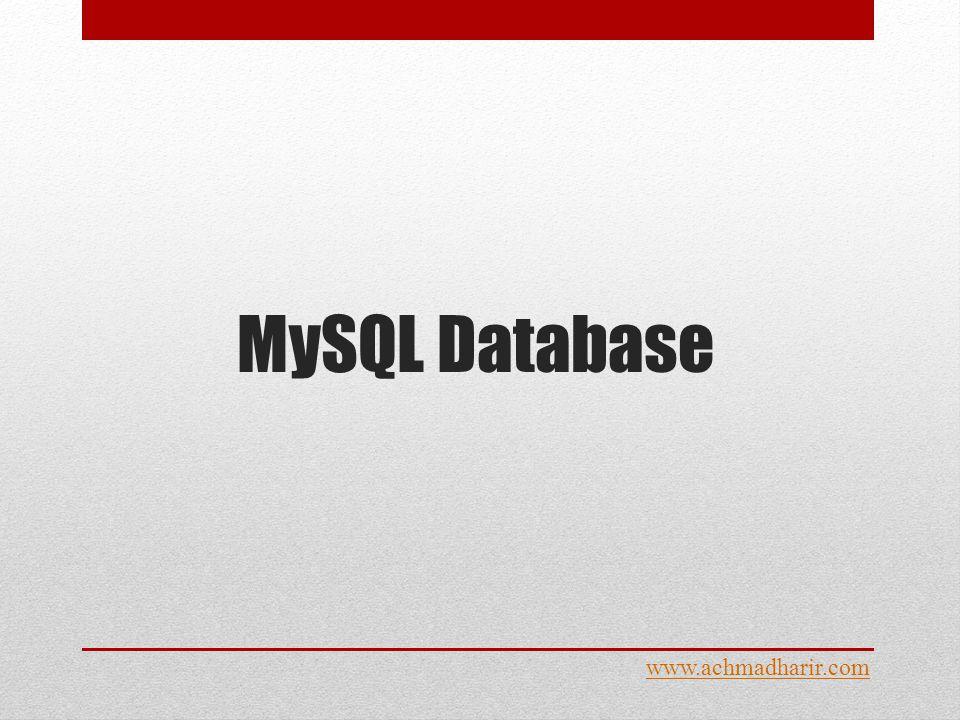 MySQL Database www.achmadharir.com