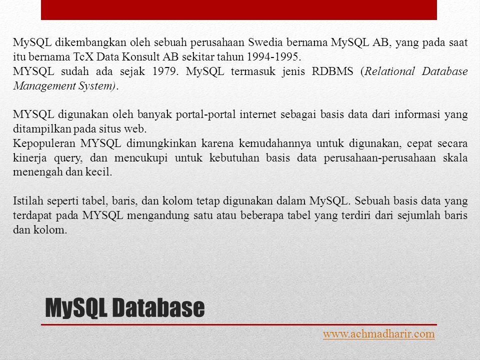 MySQL Database www.achmadharir.com MySQL dikembangkan oleh sebuah perusahaan Swedia bernama MySQL AB, yang pada saat itu bernama TcX Data Konsult AB sekitar tahun 1994-1995.