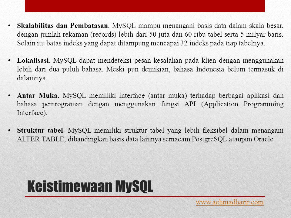 Keistimewaan MySQL www.achmadharir.com • Skalabilitas dan Pembatasan.