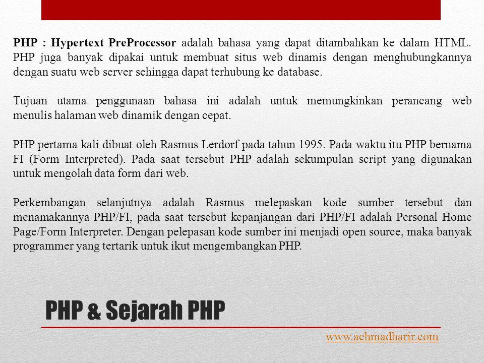 PHP & Sejarah PHP www.achmadharir.com PHP : Hypertext PreProcessor adalah bahasa yang dapat ditambahkan ke dalam HTML.