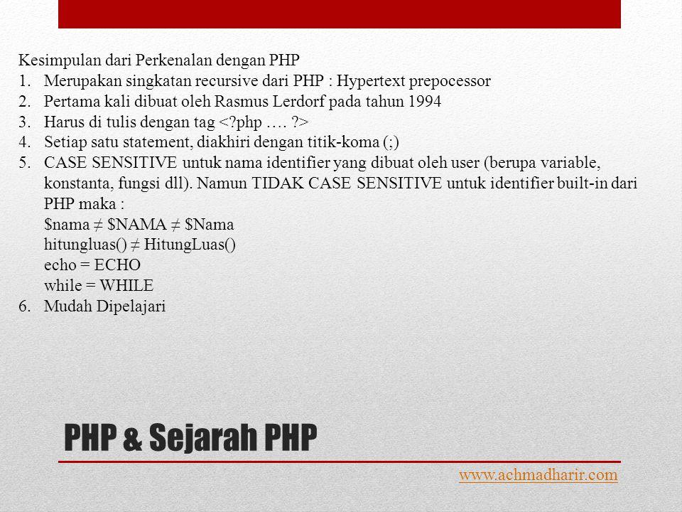 PHP & Sejarah PHP www.achmadharir.com Kesimpulan dari Perkenalan dengan PHP 1.Merupakan singkatan recursive dari PHP : Hypertext prepocessor 2.Pertama kali dibuat oleh Rasmus Lerdorf pada tahun 1994 3.Harus di tulis dengan tag 4.Setiap satu statement, diakhiri dengan titik-koma (;) 5.CASE SENSITIVE untuk nama identifier yang dibuat oleh user (berupa variable, konstanta, fungsi dll).