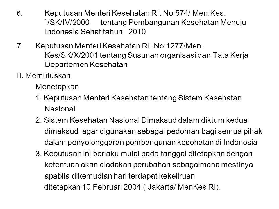 6. Keputusan Menteri Kesehatan RI. No 574/ Men.Kes. `/SK/IV/2000 tentang Pembangunan Kesehatan Menuju Indonesia Sehat tahun 2010 7.Keputusan Menteri K