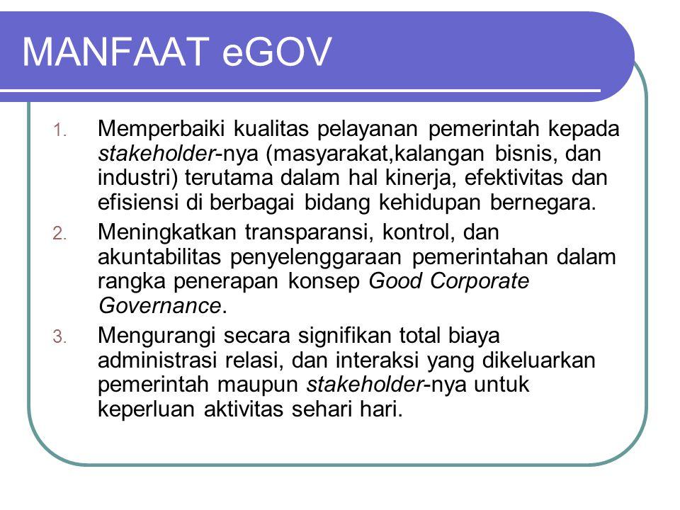MANFAAT eGOV 1. Memperbaiki kualitas pelayanan pemerintah kepada stakeholder-nya (masyarakat,kalangan bisnis, dan industri) terutama dalam hal kinerja