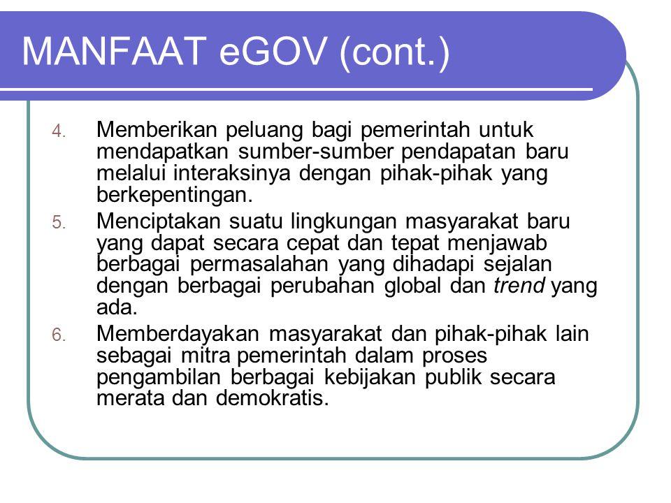 MANFAAT eGOV (cont.) 4. Memberikan peluang bagi pemerintah untuk mendapatkan sumber-sumber pendapatan baru melalui interaksinya dengan pihak-pihak yan