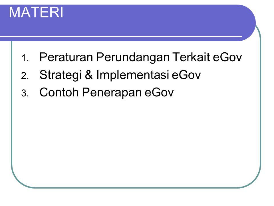 MATERI 1. Peraturan Perundangan Terkait eGov 2. Strategi & Implementasi eGov 3. Contoh Penerapan eGov