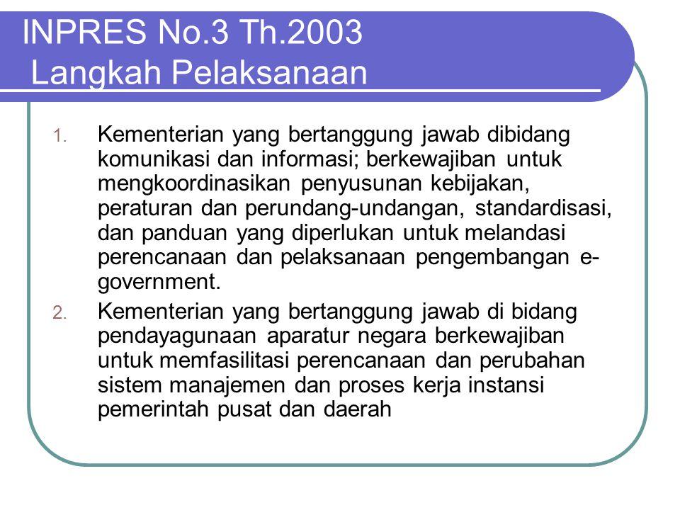 INPRES No.3 Th.2003 Langkah Pelaksanaan 1. Kementerian yang bertanggung jawab dibidang komunikasi dan informasi; berkewajiban untuk mengkoordinasikan
