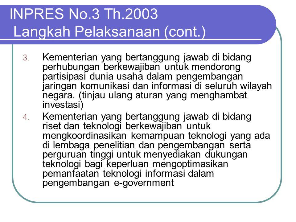 INPRES No.3 Th.2003 Langkah Pelaksanaan (cont.) 3. Kementerian yang bertanggung jawab di bidang perhubungan berkewajiban untuk mendorong partisipasi d