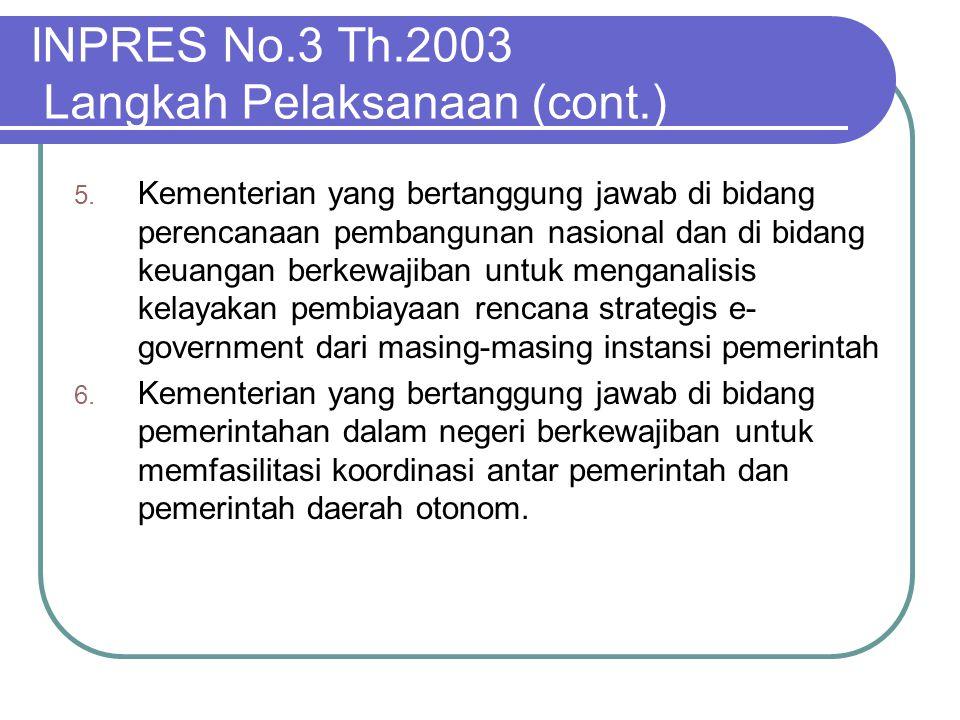 INPRES No.3 Th.2003 Langkah Pelaksanaan (cont.) 5. Kementerian yang bertanggung jawab di bidang perencanaan pembangunan nasional dan di bidang keuanga