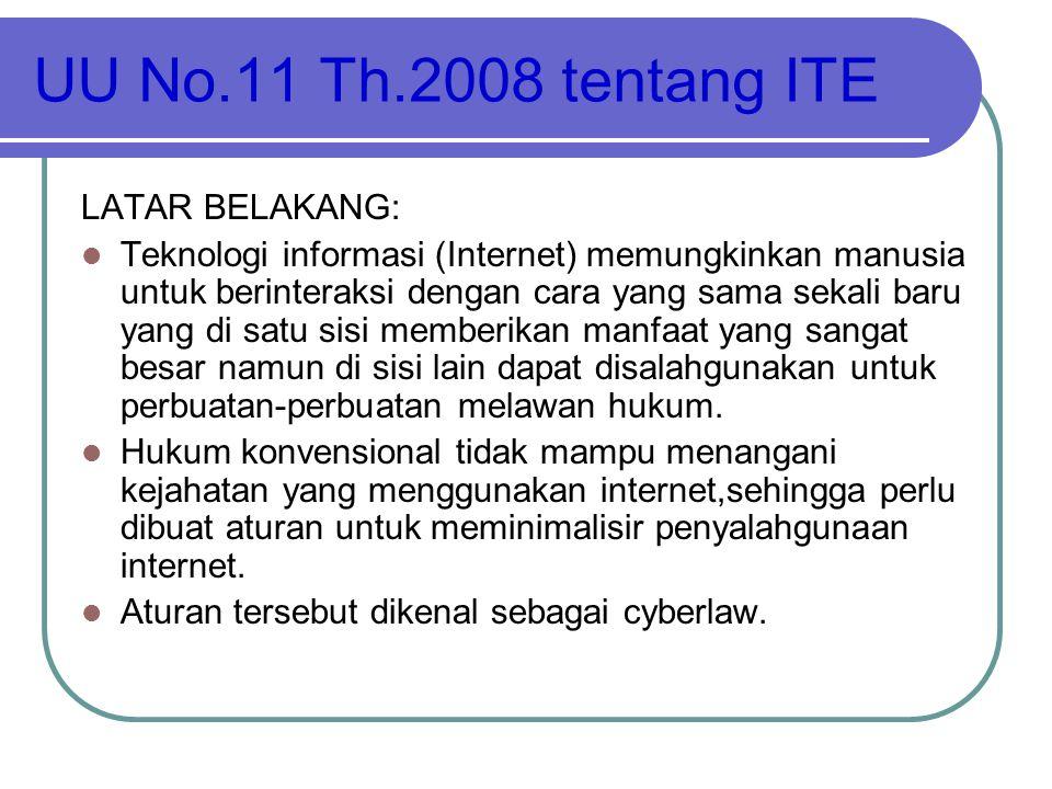 UU No.11 Th.2008 tentang ITE LATAR BELAKANG:  Teknologi informasi (Internet) memungkinkan manusia untuk berinteraksi dengan cara yang sama sekali bar