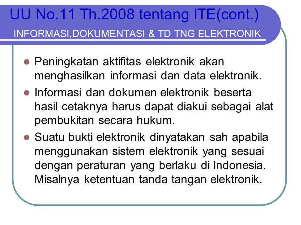 UU No.11 Th.2008 tentang ITE(cont.) INFORMASI,DOKUMENTASI & TD TNG ELEKTRONIK  Peningkatan aktifitas elektronik akan menghasilkan informasi dan data