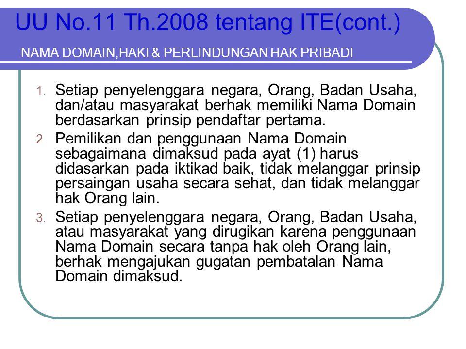 UU No.11 Th.2008 tentang ITE(cont.) NAMA DOMAIN,HAKI & PERLINDUNGAN HAK PRIBADI 1. Setiap penyelenggara negara, Orang, Badan Usaha, dan/atau masyaraka