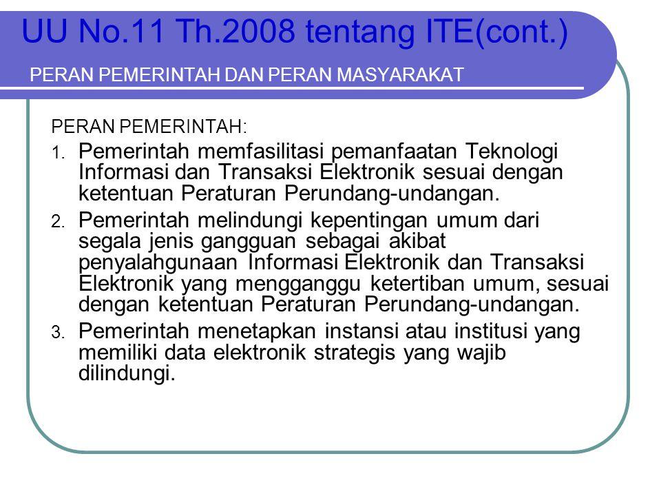 UU No.11 Th.2008 tentang ITE(cont.) PERAN PEMERINTAH DAN PERAN MASYARAKAT PERAN PEMERINTAH: 1. Pemerintah memfasilitasi pemanfaatan Teknologi Informas