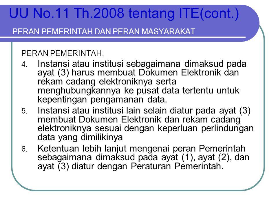 UU No.11 Th.2008 tentang ITE(cont.) PERAN PEMERINTAH DAN PERAN MASYARAKAT PERAN PEMERINTAH: 4. Instansi atau institusi sebagaimana dimaksud pada ayat
