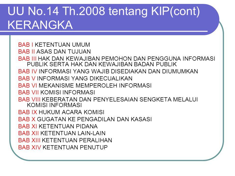 UU No.14 Th.2008 tentang KIP(cont) KERANGKA BAB I KETENTUAN UMUM BAB II ASAS DAN TUJUAN BAB III HAK DAN KEWAJIBAN PEMOHON DAN PENGGUNA INFORMASI PUBLI