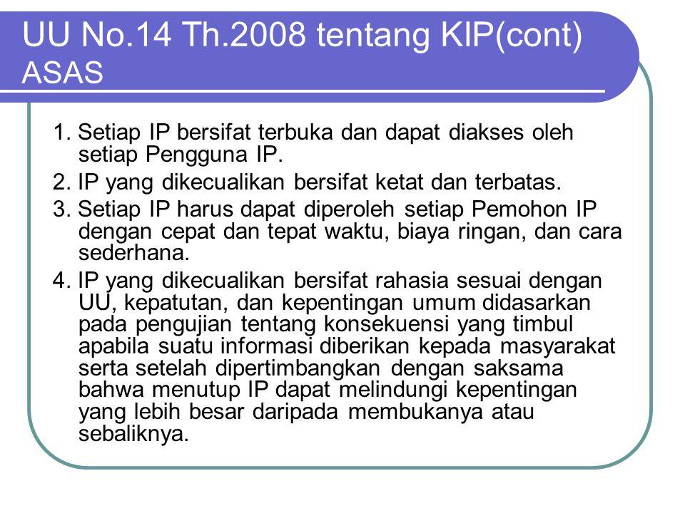 UU No.14 Th.2008 tentang KIP(cont) ASAS 1. Setiap IP bersifat terbuka dan dapat diakses oleh setiap Pengguna IP. 2. IP yang dikecualikan bersifat keta