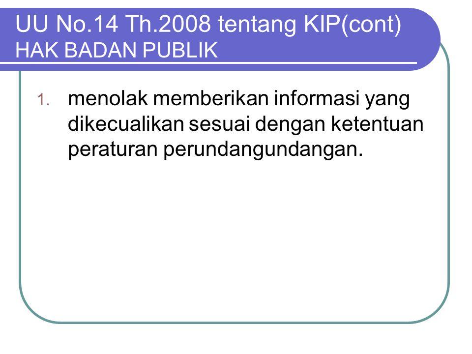UU No.14 Th.2008 tentang KIP(cont) HAK BADAN PUBLIK 1. menolak memberikan informasi yang dikecualikan sesuai dengan ketentuan peraturan perundangundan