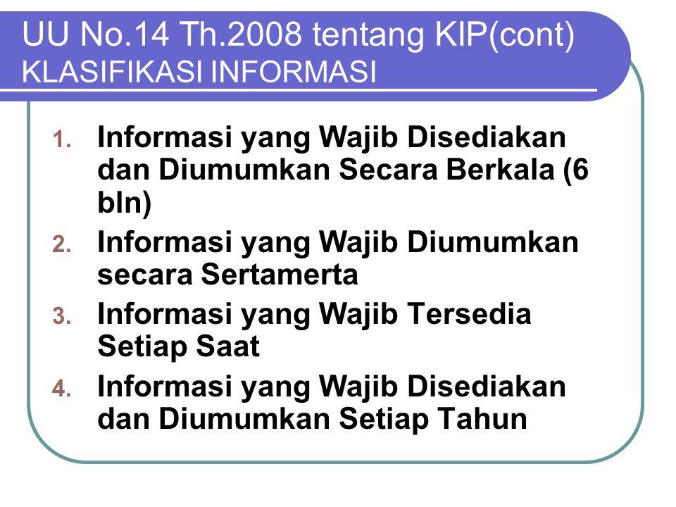 UU No.14 Th.2008 tentang KIP(cont) KLASIFIKASI INFORMASI 1. Informasi yang Wajib Disediakan dan Diumumkan Secara Berkala (6 bln) 2. Informasi yang Waj