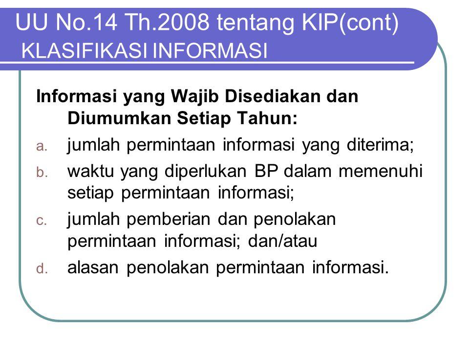UU No.14 Th.2008 tentang KIP(cont) KLASIFIKASI INFORMASI Informasi yang Wajib Disediakan dan Diumumkan Setiap Tahun: a. jumlah permintaan informasi ya