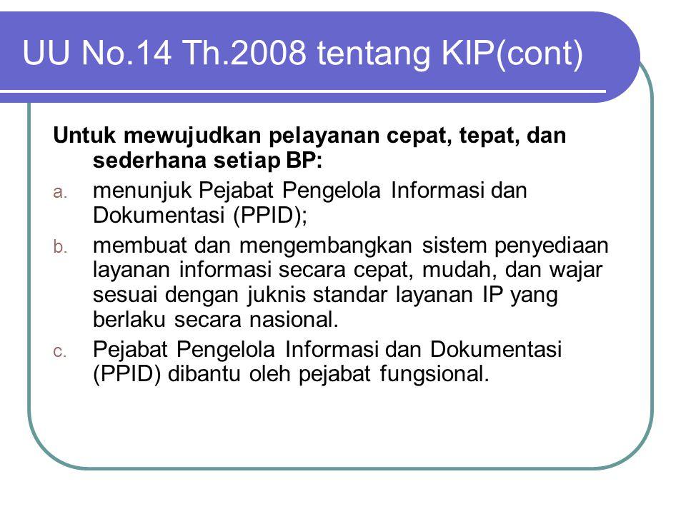 UU No.14 Th.2008 tentang KIP(cont) Untuk mewujudkan pelayanan cepat, tepat, dan sederhana setiap BP: a. menunjuk Pejabat Pengelola Informasi dan Dokum
