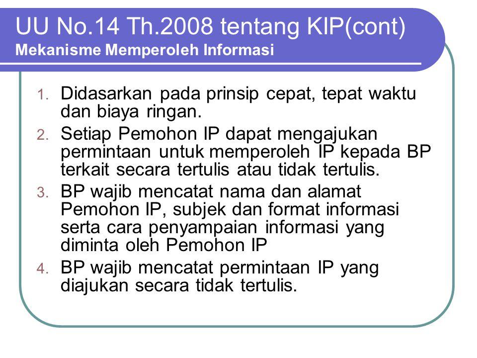 UU No.14 Th.2008 tentang KIP(cont) Mekanisme Memperoleh Informasi 1. Didasarkan pada prinsip cepat, tepat waktu dan biaya ringan. 2. Setiap Pemohon IP