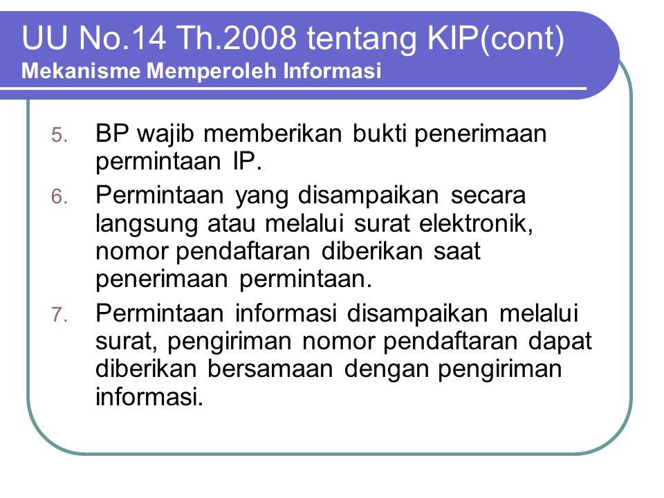 UU No.14 Th.2008 tentang KIP(cont) Mekanisme Memperoleh Informasi 5. BP wajib memberikan bukti penerimaan permintaan IP. 6. Permintaan yang disampaika