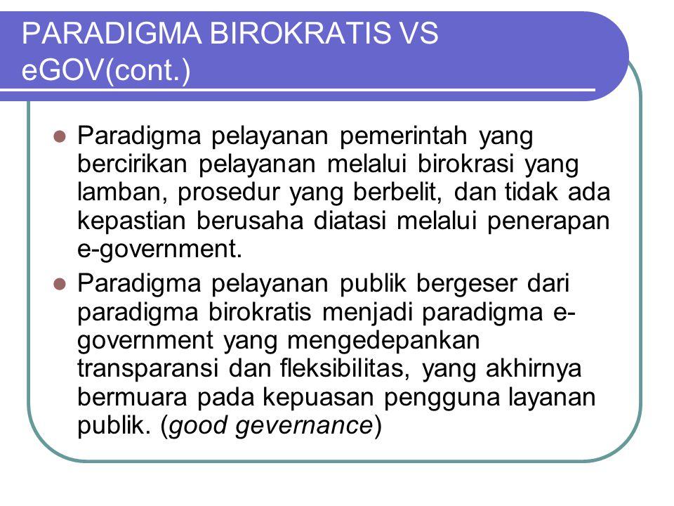 PARADIGMA BIROKRATIS VS eGOV(cont.)  Paradigma pelayanan pemerintah yang bercirikan pelayanan melalui birokrasi yang lamban, prosedur yang berbelit,