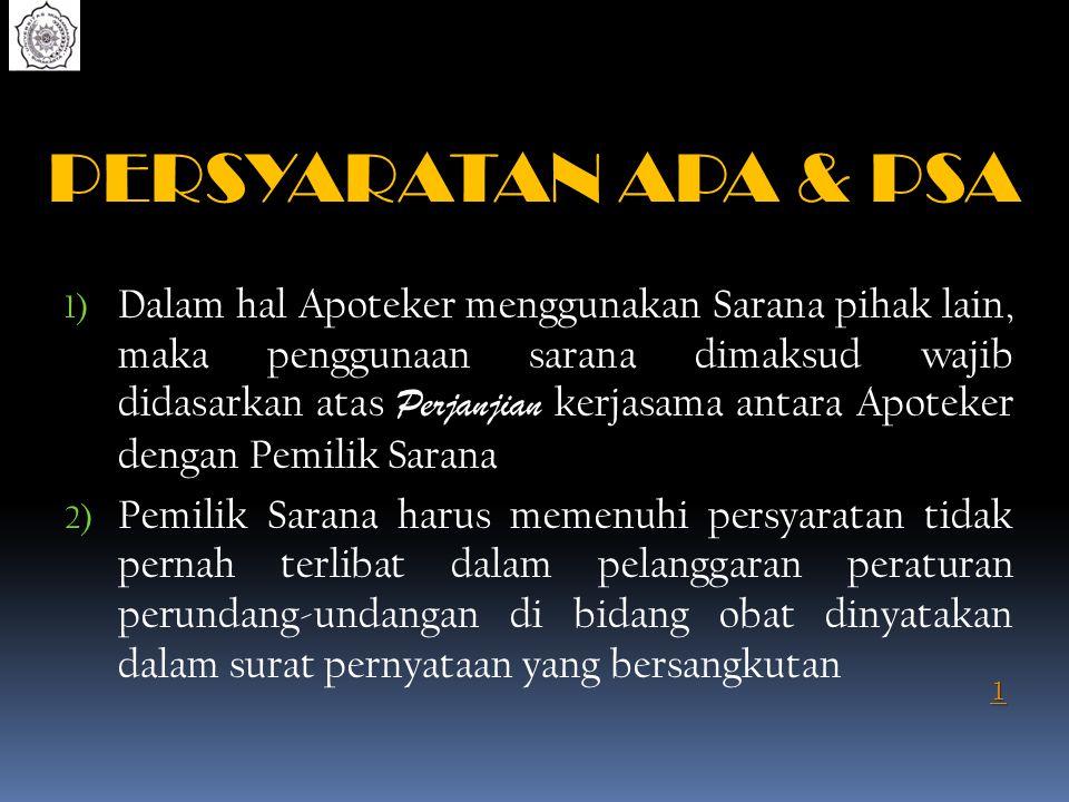PERSYARATAN APA & PSA 1) Dalam hal Apoteker menggunakan Sarana pihak lain, maka penggunaan sarana dimaksud wajib didasarkan atas Perjanjian kerjasama