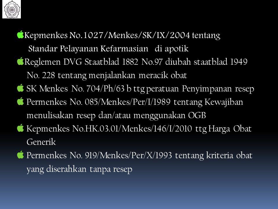  Kepmenkes No.1027/Menkes/SK/IX/2004 tentang Standar Pelayanan Kefarmasian di apotik  Reglemen DVG Staatblad 1882 No.97 diubah staatblad 1949 No. 22