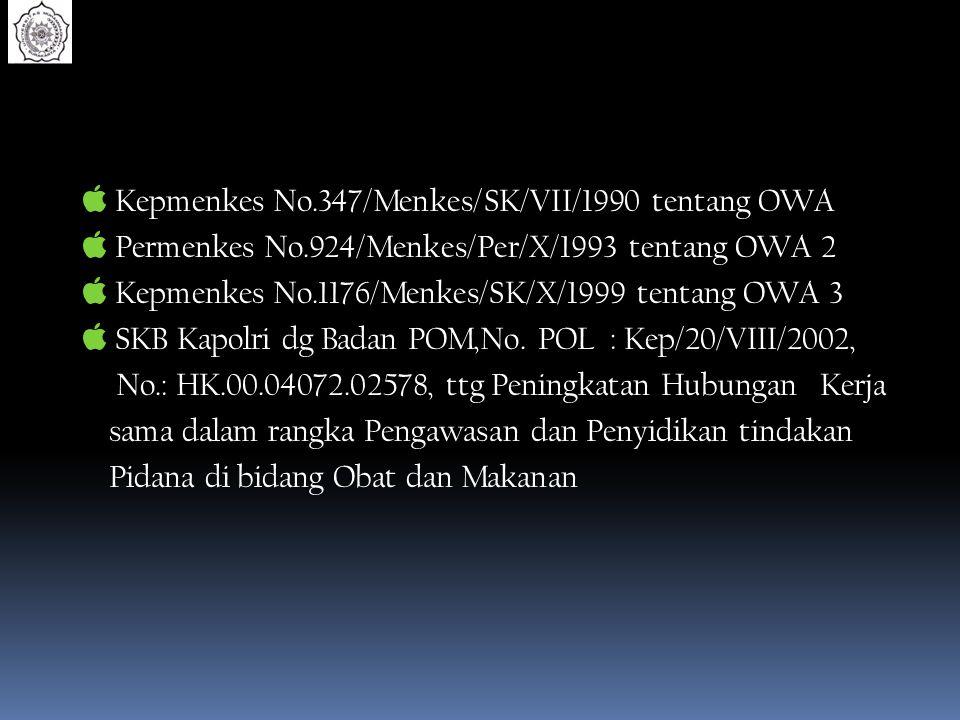  Kepmenkes No.347/Menkes/SK/VII/1990 tentang OWA  Permenkes No.924/Menkes/Per/X/1993 tentang OWA 2  Kepmenkes No.1176/Menkes/SK/X/1999 tentang OWA