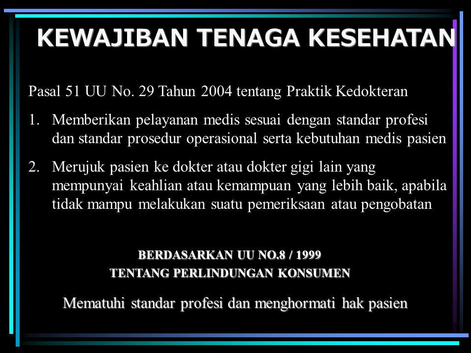 KEWAJIBAN TENAGA KESEHATAN Pasal 51 UU No. 29 Tahun 2004 tentang Praktik Kedokteran 1.Memberikan pelayanan medis sesuai dengan standar profesi dan sta
