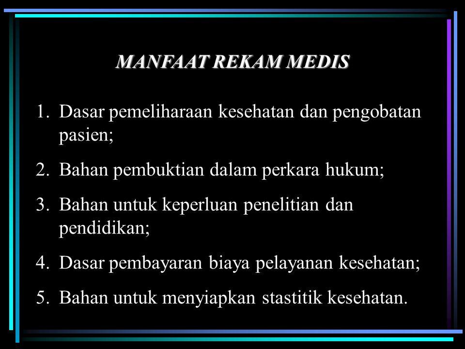 MANFAAT REKAM MEDIS 1.Dasar pemeliharaan kesehatan dan pengobatan pasien; 2.Bahan pembuktian dalam perkara hukum; 3.Bahan untuk keperluan penelitian d
