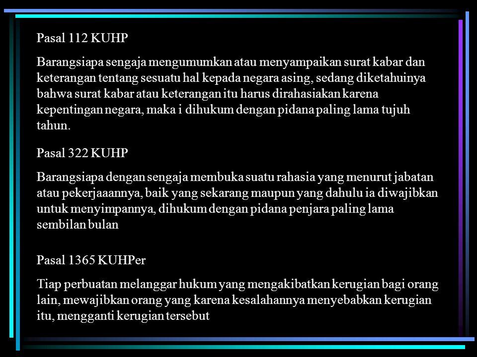 Pasal 112 KUHP Barangsiapa sengaja mengumumkan atau menyampaikan surat kabar dan keterangan tentang sesuatu hal kepada negara asing, sedang diketahuin
