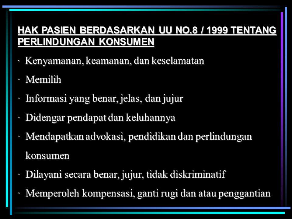 HAK PASIEN BERDASARKAN UU NO.8 / 1999 TENTANG PERLINDUNGAN KONSUMEN · Kenyamanan, keamanan, dan keselamatan · Memilih · Informasi yang benar, jelas, d
