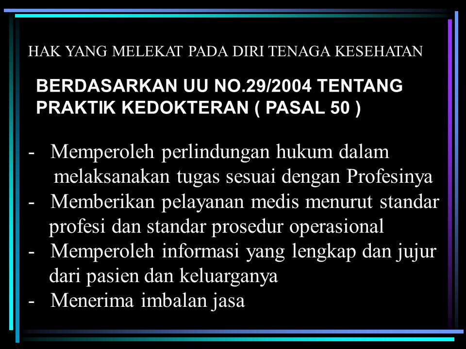 HAK YANG MELEKAT PADA DIRI TENAGA KESEHATAN BERDASARKAN UU NO.29/2004 TENTANG PRAKTIK KEDOKTERAN ( PASAL 50 ) - Memperoleh perlindungan hukum dalam me