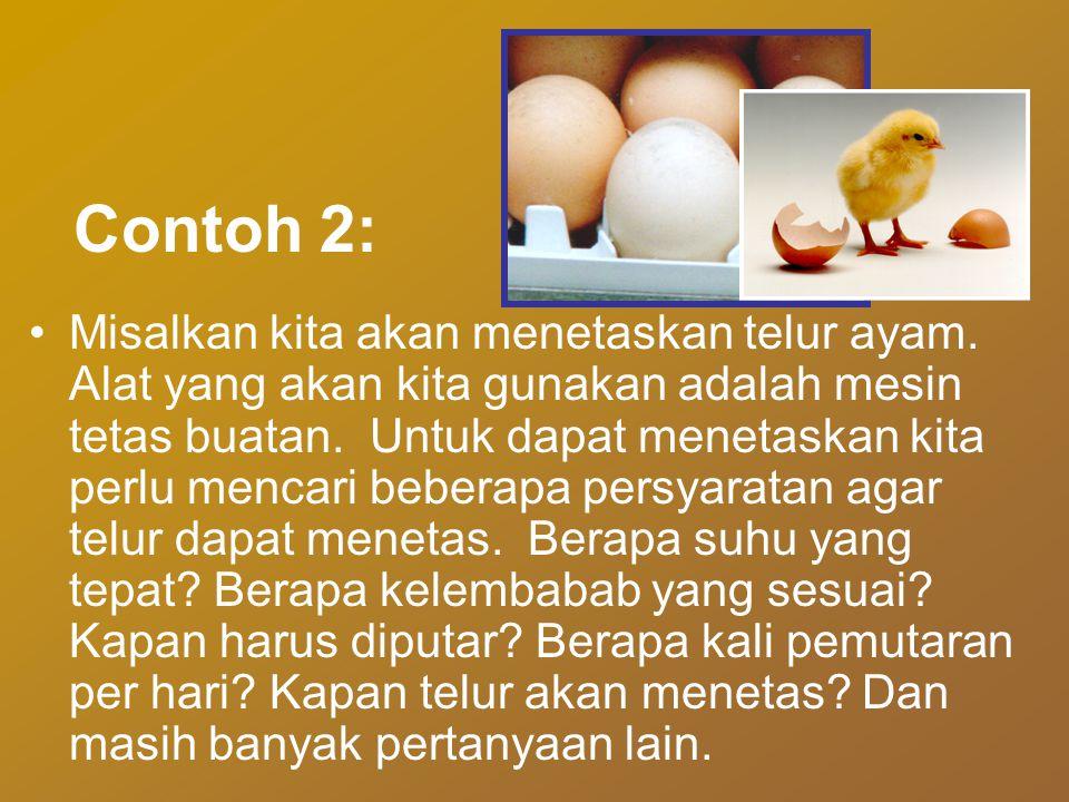Contoh 2: •Misalkan kita akan menetaskan telur ayam. Alat yang akan kita gunakan adalah mesin tetas buatan. Untuk dapat menetaskan kita perlu mencari