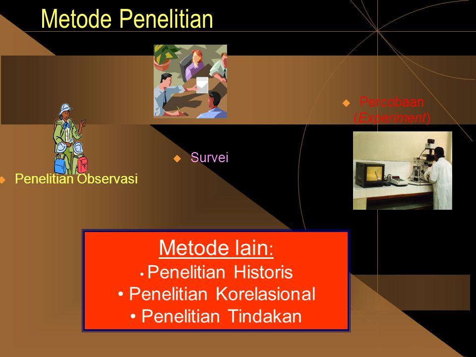 Metode Penelitian  Survei  Penelitian Observasi  Percobaan (Experiment) Metode lain : • P• Penelitian Historis • Penelitian Korelasional enelitian Tindakan