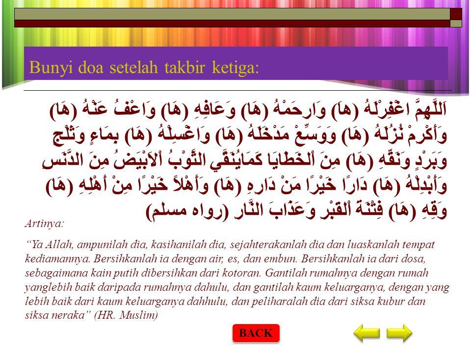 Rukun Salat Jenazah 1. Salat jenazah dilakukan dengan niat ikhlas karena Allah ta'ala. 2. Takbir empat kali. 3. Membaca surah Al-fatihah sesudah takbi