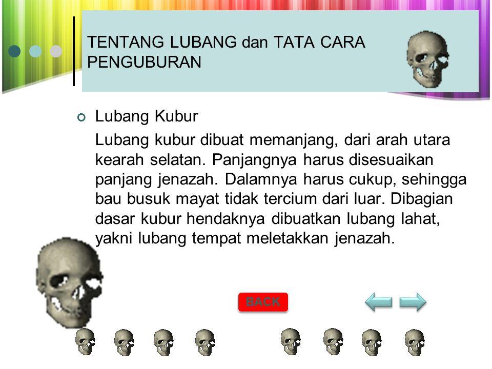 4.Menguburkan Jenazah Jenazah dikuburkan setelah dimandikan, dikafani dan disalatkan. Hukum penguburan jenazah muslim adalah fardu kifayah atas orang
