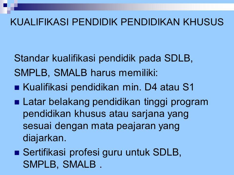 KUALIFIKASI PENDIDIK PENDIDIKAN KHUSUS Standar kualifikasi pendidik pada SDLB, SMPLB, SMALB harus memiliki:  Kualifikasi pendidikan min. D4 atau S1 