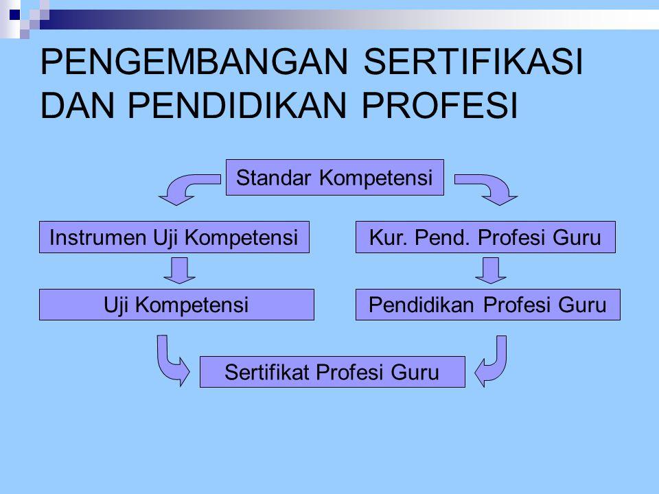 PENGEMBANGAN SERTIFIKASI DAN PENDIDIKAN PROFESI Standar Kompetensi Instrumen Uji Kompetensi Kur. Pend. Profesi Guru Uji KompetensiPendidikan Profesi G